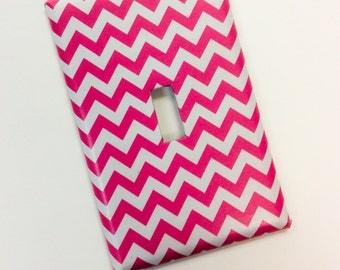 Hot Pink Chevron Light Switch Cover, Teen Girl Chevron Bedroom,Chevron Home Decor