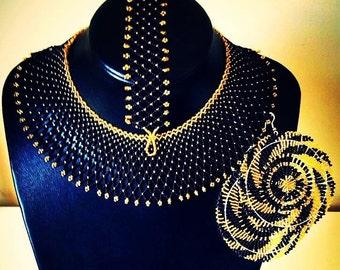 Zulu Beaded choker, earrings and bracelet