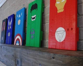 The Avengers, Superheroes, Marvel, Hulk, Black Widow, Captain America, Iron Man, Thor, Gift, Children's, Man Cave, Minimalist