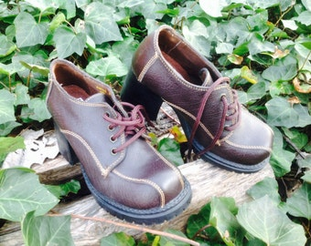 Funky Platform Heal Brown Leather ZODIAC womens shoes size 6.5