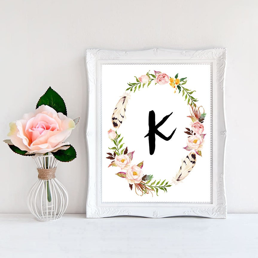 Bedroom Decor Letters printable monogram letter k wall art boho bedroom decor boho