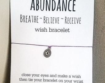 Abundance Wish Bracelet - Breathe~Believe~Receive