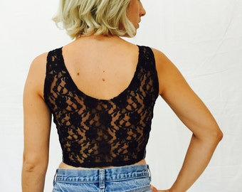 leather and lace cropped bustier - vintage lacy back cropped blouse -  leather tank top - size S