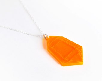 Fluorescent Orange Small Crystal Pendant Necklace, Laser Cut Acrylic, Neon Jewelry, Geometric Statement Necklace, Futuristic Jewelry
