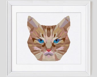 Cat cross stitch pattern, cat counted cross stitch pattern, modern cat cross stitch pattern, cat cross stitch pdf pattern