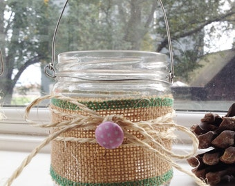 Rustic mason jar candle holder hanging lantern with button