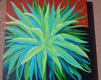 """GIANT YUCCA CACTUS is an original, colorful, striking acrylic painting 20""""x20"""" on gallery wrapped canvas"""