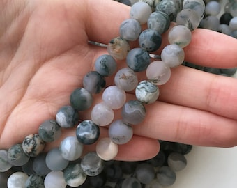 Tree Agate, Matte Beads, 8mm Beads, Frosted Beads, Agate Beads, Gemstone Beads, Matte Agate, Multicolor Beads, Natural Gemstones, Gray Beads
