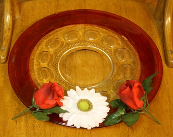 Vintage Tiffin/Indiana Glass Kings Crown Ruby Red Thumbprint Round 13' Serving Platter/Cake Plate