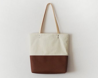 Off white canvas brown leather tote bag