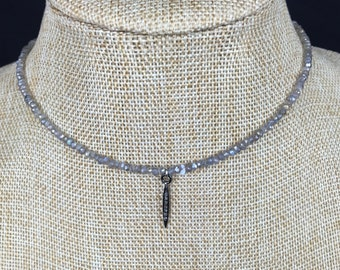 Pave diamond spike choker with mystic labradorite beads, choker necklace, boho