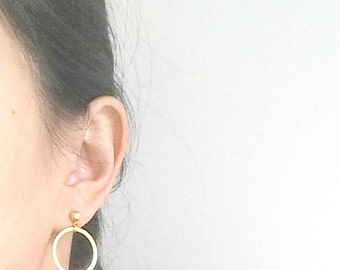 Circle Earrings, Open Circle Studs, Gold Circle Earrings, Circle Stud Earrings, Karma Stud Earrings, Gold Karma Studs, Halo Earrings