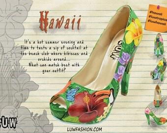 HAWAII - floral custom heels, hawaiian flowers, birds, hibiscus, orchid design shoes