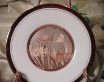 Japanese ART of CHOKIN plate,  Japanese iris and hummingbird  etched in copper and gilded with gold and silver trimmed in 24 Karat gold