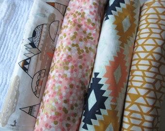 Baby Girl Burp cloth SET girl- Burp Cloth girl -Shower Gift- Newborn - Cotton & Chenille