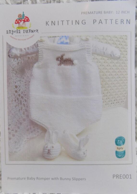 Knitting Pattern Leaflets : Knitting Pattern Leaflet Premature Baby Romper and Bunny
