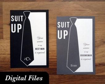 "Will you be my groomsman? card // PRINTABLE, DIGITAL FILES // ""Necktie"""