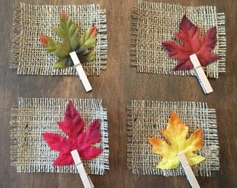 Rustic Burlap Fall Leaf Place Cards | Set of 4 | Rustic Table Decor | Farmhouse Decor | Thanksgiving Place Setting | Harvest Table