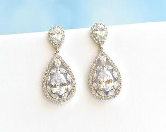 Wedding Earrings Cubic Zirconia Teardrop Earrings Bridal Crystal CZ Earrings Bridal Jewelry