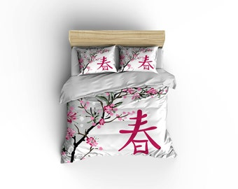 Japanese Spring floral Duvet cover,Asian decor,Japanese bedding bed and bath, home decor,Asian culture bedding,Cherry blossoms bedding.
