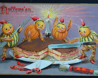 Halloween Postcard Raphael Tuck JOL Men Vegetable People Fantasy Card Series 150 Cake Cutting Embossed