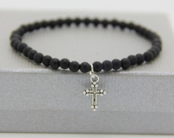Bracelet cross Obsidian Black Pearl amatie