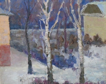 IMPRESSIONIST ART Vintage Winter Landscape ORIGINAL Oil Painting by a Soviet Ukrainian Artist Snitko 1970s, Winter scenes, Handmade Artwork