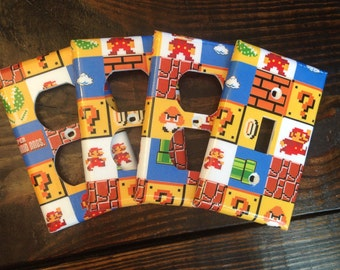 Super Mario Brothers Light Switch And Outlet Covers | Super Mario Bros - Set of 4 - Mario Room Decor - Nintendo Decor - Video Game Decor