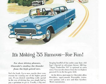 Vintage Magazine Ad Art-1955 Chevrolet Auto Car Ad-Blue Vintage Car Ad-Collectible Ads For Framing-Man Cave Wall Decor-Chevy Car Ad