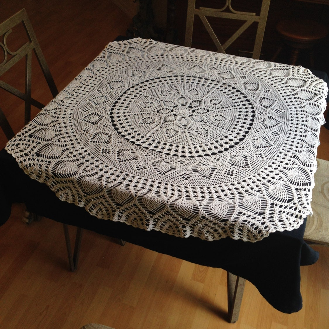 crocheted table cloth dining room decor home by craftsfrompaula