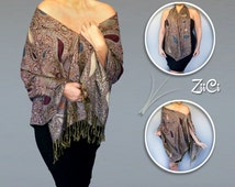 Bohemian Clothing |Paisley Shawl |Beige Boho Chic Wrap| Plus Size Loose Top |Multi-Color Caftan |Teal Pashmina |Burgundy Scarf  |Ladies Wrap