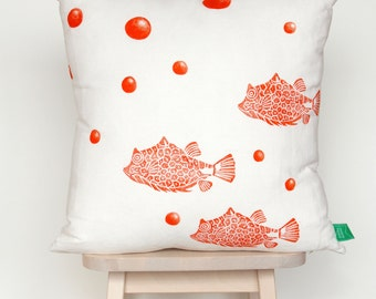 SALE | Cushion cover with fish and bubbles