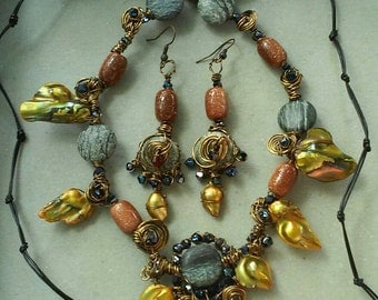 "Goldstone Necklace Set,  Handmade- Natural Stone, Shell, Crystal, Bronze, Design, Necklace (25"", Adjustable)/Earrings (2.75"")"