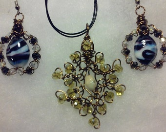 "Wire Jewelry Set, Handmade- Crystal, Glass, Bronze, Design, Pendant (21"", Adjustable)/Earrings (1.5"")"
