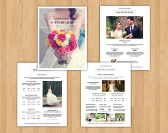 SALE ! Wedding Photography Pricing Template | 4 Pages Pricing Template Set | Photoshop CS, Elements and MS Word Template | Instant Download