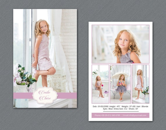 model comp card template modeling comp card photoshop elements
