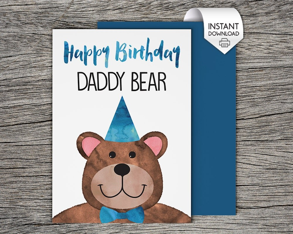Printable Birthday Card Happy Birthday Daddy Bear Instant – Download Printable Birthday Cards