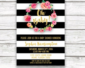 Baby Shower Invitation Girl, Black and White Baby Shower Invitation, Oh Baby Invitation, Pink Gold Baby Shower Invite, Printable Invitation