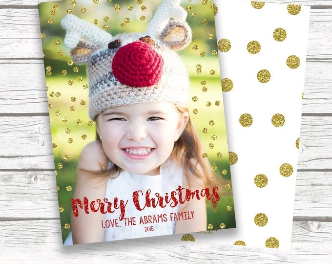 Gold Glitter Confetti Photo Christmas Holiday Card, Red Gold Glitter Merry Christmas Card, Personalized Printed or Printable Matching Back