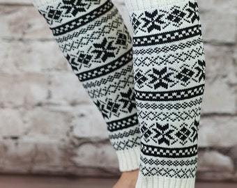 Nordic Leg Warmers for Women White Black