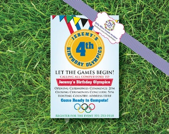 Let the Games Begin, Olympic themed, party, birthday, invitations, torch, gold medal, golden birthday