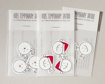 kids tattoos SNOWMAN in Santa hat Christmas temporary tattoo 1 packet 3 tattoos Christmas holiday stocking stuffers gifts for kids everyone