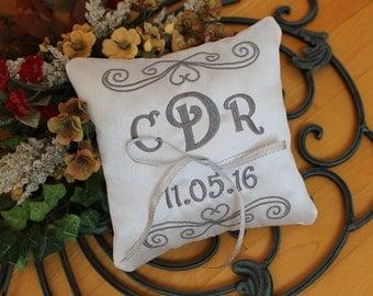 Wedding Ring pillow, personalize,ring holder, Ring bearer pillow, square pillow, embroider, ribbon, heart design, Custom, Monogrammed, 7x7