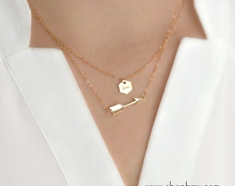 Follow Your Arrow Necklace Set  / Gold, Silver, Rose Gold / Personalized Initial Necklace
