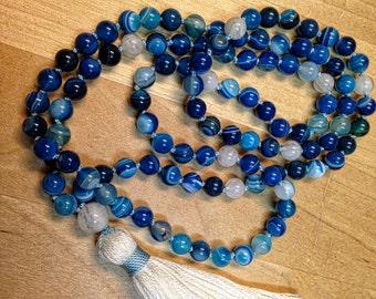 Blue Banded Agate Gemstone Mala