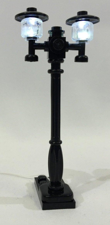 led lamp double light up street lamp black or white usb lego. Black Bedroom Furniture Sets. Home Design Ideas