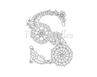 adult coloring page floral letters alphabet s hand lettering printable anti - Letter S Coloring Pages