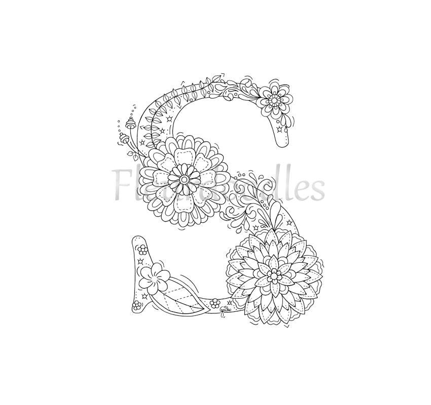 malseite zum ausdrucken buchstabe s floral