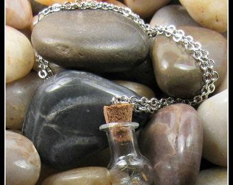 "Glass Dandelion Seed Pendant on 20"" Chain"