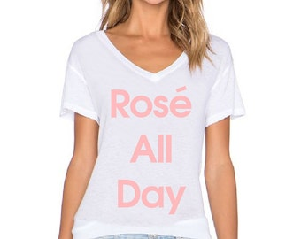 Rose All Day V-Neck T-Shirt - Available in S, M, L, XL.